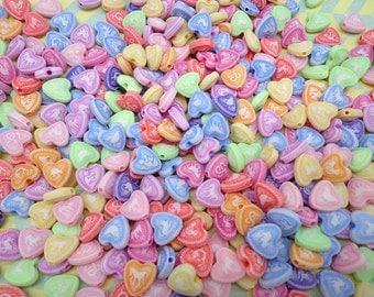 200PCS mixed color tiny plastic heart shape beads with hole