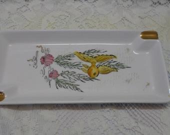 Vintage Ashtray Goldfish Motif Pink Clams Gold Trim Ceramic 1950's Decor Mid Century Design Tobacciana