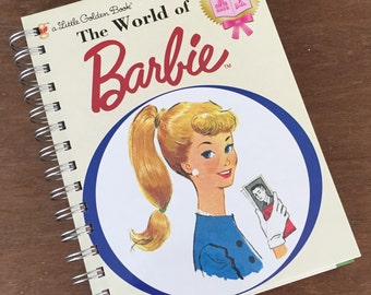 The World of Barbie Little Golden Book OR Other LGB Recycled Recipe Notebook