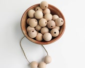 Wood Beads Bulk Lot of 100 - 1 inch Wooden Beads (25mm) | Unfinished Round Natural Wood Bead, 1 inch beads