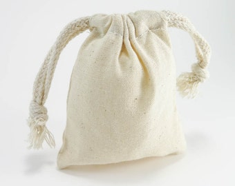 10 SMALL Cotton Muslin Bags Pouches (3 by 4 inch) Gift Bags   Unbleached Muslin Favor Bags, Cotton pouches