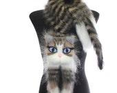Knitted Scarf  / animal scarf /  tabby cat / Fuzzy  black beige white Soft Scarf / Pet portrait / cat scarf / knit cat scarf / animal scarf