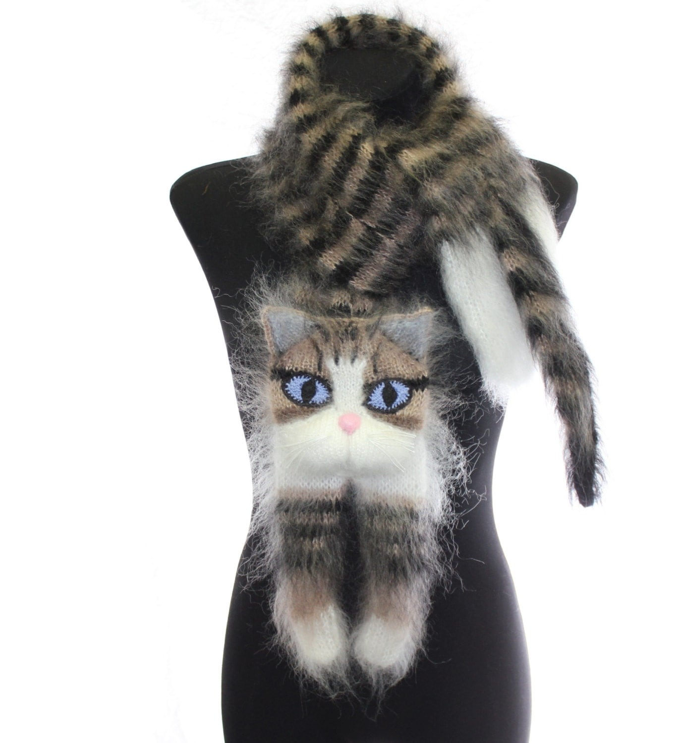 Knitted Cat Scarf Pattern : Knitted Scarf / animal scarf / tabby cat / Fuzzy black