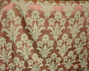 """Vintage Pink and Beige Damask Upholstery Fabric Long Length 46"""" x 120"""""""