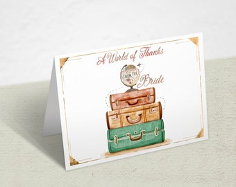 "Travel Vintage Globe 4x6"" Folded Thank You Card-World Map-From Miss To Mrs- A World Of Thanks"