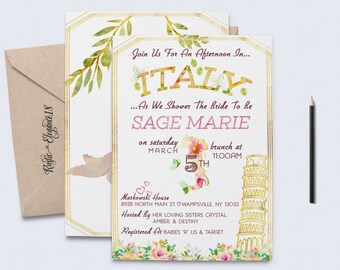 Italian bridal shower invitations amazing to designing home items similar to tuscan or italian party invitation filmwisefo