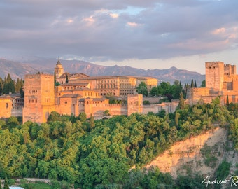Alhambra Sunset - Granada Spain Photography - Landscape Print - Spain Landscape Photo - Sunset Photo - Alhambra Palace - Albaicin