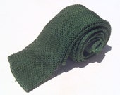 Vintage 1960s Green Satin Square End Knit Tie by Royalist