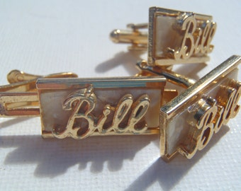 Vintage Goldtone Personalized for Bill Rectangular Cufflinks and Tie Clip Set