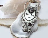 The Dreamer - Goddess Amulet Pendant - Moonstone, Copper, Eco Friendly tin with silver, talisman, festival, tiffany, mystical, dream, moon