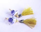Gypsy Fringe Earrings / Boho Gold Purple tassel Earring dangle / Textile and ceramic Jewelry