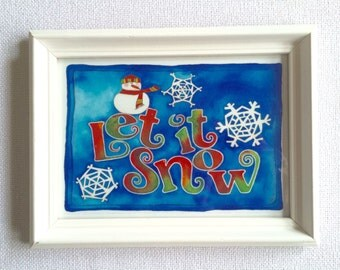 Let It Snow with Snowman Framed 5x7 art print