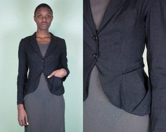 Black Peplum Blazer / Black Peplum Jacket / Minimalist Jacket / Avant Garde Jacket / Deconstructed Jacket / Linen Jacket