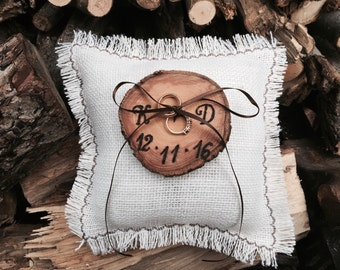 Rustic Ring Bearer, Wedding Ring Bearer Pillow, Initals Ring Bearer, Burlap Ring Bearer