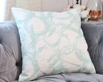 Aqua Brush Strokes Pillow Cover - Contemporary Modern Painted Pillow Cover - Aqua & White - Brush Stroked Linen Pillow Cover