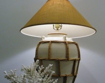 Gorgeous Pottery Lamp in Bisque White Encircled in  Thick Braided Rattan