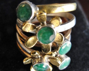Daisy Stack Ring Estate Jewelry Green Onyx Jewels Size 6-6.5