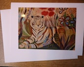 "Tiger print / EYE of THE TIGER / Greeting Card with envelope (5x7"") / xmas card / christmas card"