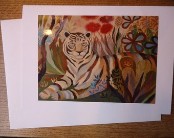 """Tiger print / EYE of THE TIGER / Greeting Card with envelope (5x7"""") / xmas card / christmas card"""
