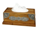Pewter and Wood Tissue Box