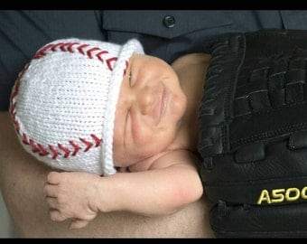 Newborn Photo Prop,Baby Baseball Hat, Baby Baseball Beanie, Hand Knit Newborn Baseball Hat, Baby Boy Knit Hat, Baby Girl Baseball Hat
