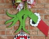 Grinch Door Hanger Personalized Christmas Decor Grinch Hand Door Hanger Christmas Door Hanger