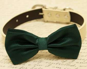 Dark green dog bow tie, Bow attached to dog collar, Pet wedding accessory, dog birthday gift, Green wedding accessory, dog lovers,dog collar