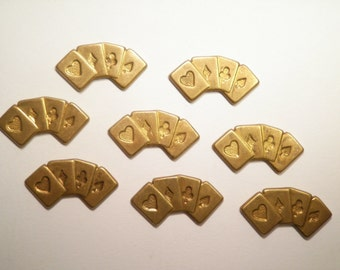 8 Vintage Brass 20mm Hand of Cards Stampings