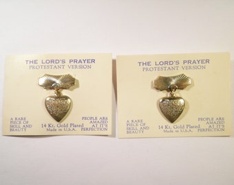 "12 Vintage 14 Kt. Goldplated ""The Lord's Prayer"" Protestant Version Heart Pins"