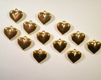 12 Goldplated 15mm Heart Charms