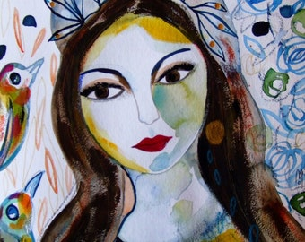 Woman Portrait Woman Art Woman Face Woman Watercolor Home Decor Painting Yellow Blue Green - Original Watercolor - Original Portrait