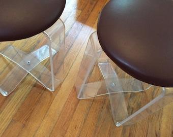 SALE Mod acrylic lucite stools, Mid Century Modern low profile glam stools pair.