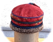 Red Winter Tibetan Shearling Tapestry Hat Small