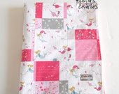Minky Patchwork Baby Girl Blanket Quilt Mermaids Narwhals Pink Gray Riley Blake Saltwater 2 Sizes--Made to Order