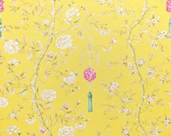 CLARENCE HOUSE Chinoiserie Blossoms Butterflies & Berries Fabric 10 Yards Yellow Rose Oyster Multi