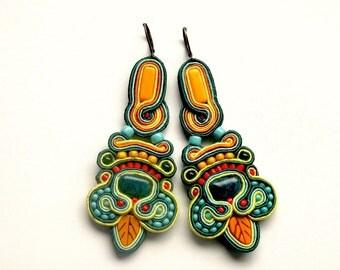 Orange Leaf - Earrings - Soutache Jewelry - Hand Embroidered