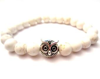 Silver Owl Bracelet. Beaded Bracelet. Gemstone Bracelet. Stretch Bracelet. Owl Jewelry.