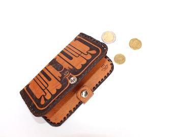 Leather Wallet Vintage Genuine Leather Wallet with Mirror Soviet Era Vintage Tooled Leather Retro Wallet Embossed Leather, Unisex Wallet