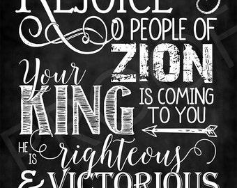 Scripture Art ~ Zechariah 9:9 - Chalkboard Style