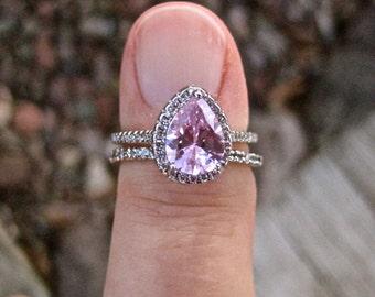 Vintage 925 Sterling Pink CZ Wedding Ring Set