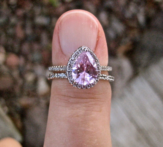 Vintage 925 Sterling Pink CZ Wedding Ring Set
