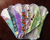 Cloth Menstrual Pads: Set of 6 Floral Prints Pads