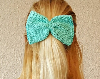 Seafoam Knit Hair Bow
