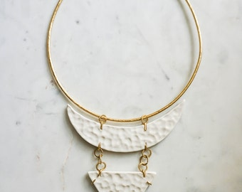 Brass Porcelain Hammered Statement Necklace in White Elegant Minimal Jewelry FREE Shipping to USA