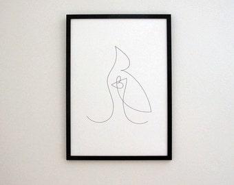 Bird art, Picasso inspired, Childish art, Black white art, wall art, nursery wall art, digital art prints