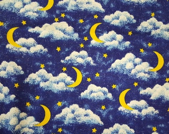 Moon, Stars and Clouds with a sparkle