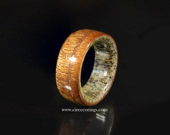 deer antler wedding band rings with mahogany wood - Deer Antler Wedding Rings