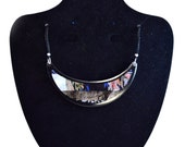 Crescent Moon Recycled Paper Pendant Necklace