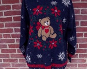 history's  most ugly Christmas sweater 1980s sz L-XL