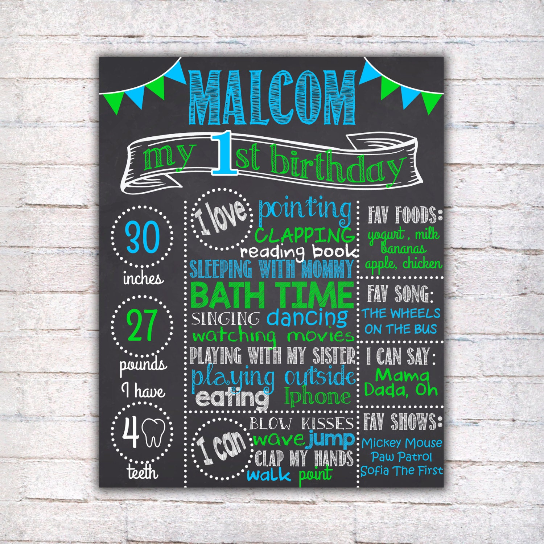First birthday chalkboard sign printable 1st birthday for First birthday chalkboard printable